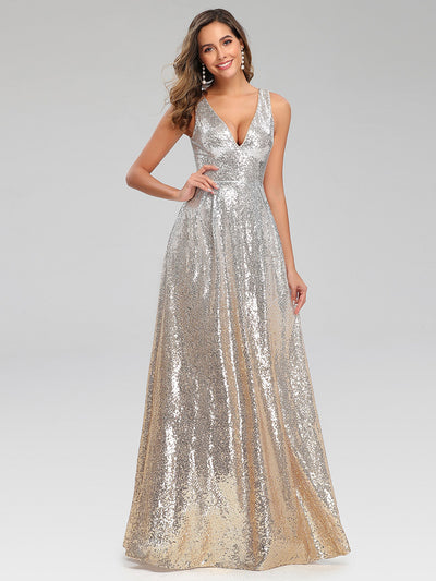 Deep V Neck A-Line Sleeveless Sequin Evening Dresses