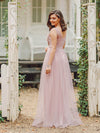 Floral Appliqued V Neck Floor Length Tulle Bridesmaid Dress-Pink 2