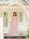 Floral Appliqued V Neck Floor Length Tulle Bridesmaid Dress-Pink 9
