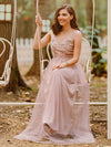Floral Appliqued V Neck Floor Length Tulle Bridesmaid Dress-Pink 3