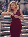 Elegant Double V-Neck Sequin Patchwork Fishtail Evening Dresses-Burgundy 5