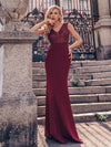 Elegant Double V-Neck Sequin Patchwork Fishtail Evening Dresses-Burgundy 6