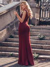 Elegant Double V-Neck Sequin Patchwork Fishtail Evening Dresses-Burgundy 8