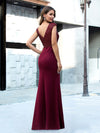 Elegant Double V-Neck Sequin Patchwork Fishtail Evening Dresses-Burgundy 10