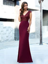 Elegant Double V-Neck Sequin Patchwork Fishtail Evening Dresses-Burgundy 12