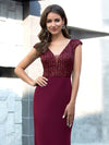 Elegant Double V-Neck Sequin Patchwork Fishtail Evening Dresses-Burgundy 13