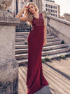 Elegant Double V-Neck Sequin Patchwork Fishtail Evening Dresses-Burgundy 1