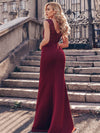 Elegant Double V-Neck Sequin Patchwork Fishtail Evening Dresses-Burgundy 2