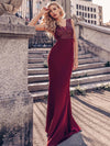 Elegant Double V-Neck Sequin Patchwork Fishtail Evening Dresses-Burgundy 3