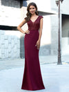 Elegant Double V-Neck Sequin Patchwork Fishtail Evening Dresses-Burgundy 9