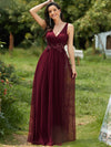 Elegant Deep Double V Neck Tulle Evening Dress With Appliques-Burgundy 1