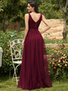 Elegant Deep Double V Neck Tulle Evening Dress With Appliques-Burgundy 2