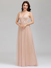 Elegant Deep Double V Neck Tulle Evening Dress With Appliques-Blush 9