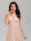 Elegant Deep Double V Neck Tulle Evening Dress With Appliques-Blush 10