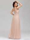 Elegant Deep Double V Neck Tulle Evening Dress With Appliques-Blush 7
