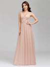 Elegant Deep Double V Neck Tulle Evening Dress With Appliques-Blush 8