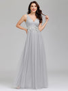 Elegant Deep Double V Neck Tulle Evening Dress With Appliques-Grey 9