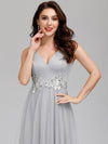 Elegant Deep Double V Neck Tulle Evening Dress With Appliques-Grey 10