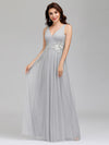 Elegant Deep Double V Neck Tulle Evening Dress With Appliques-Grey 8