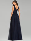 Elegant Deep Double V Neck Tulle Evening Dress With Appliques-Navy Blue 6