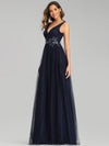Elegant Deep Double V Neck Tulle Evening Dress With Appliques-Navy Blue 7