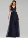 Elegant Deep Double V Neck Tulle Evening Dress With Appliques-Navy Blue 4