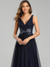 Elegant Deep Double V Neck Tulle Evening Dress With Appliques-Navy Blue 3
