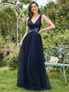Elegant Deep Double V Neck Tulle Evening Dress With Appliques-Navy Blue 1