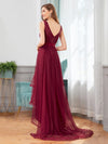 Fashion High-Low Deep V Neck Tulle Evening Dresses With Sequin Appliques-Burgundy 2