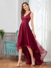 Fashion High-Low Deep V Neck Tulle Evening Dresses With Sequin Appliques-Burgundy 3