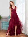 Fashion High-Low Deep V Neck Tulle Evening Dresses With Sequin Appliques-Burgundy 4