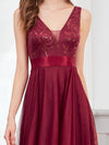 Fashion High-Low Deep V Neck Tulle Evening Dresses With Sequin Appliques-Burgundy 5