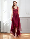 Fashion High-Low Deep V Neck Tulle Evening Dresses With Sequin Appliques-Burgundy 1