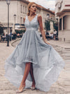 Fashion High-Low Deep V Neck Tulle Evening Dresses With Sequin Appliques-Grey 3