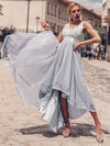 Fashion High-Low Deep V Neck Tulle Evening Dresses With Sequin Appliques-Grey 4