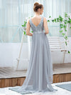 Fashion High-Low Deep V Neck Tulle Evening Dresses With Sequin Appliques-Grey 9