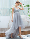 Fashion High-Low Deep V Neck Tulle Evening Dresses With Sequin Appliques-Grey 10