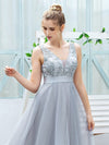 Fashion High-Low Deep V Neck Tulle Evening Dresses With Sequin Appliques-Grey 12