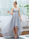 Fashion High-Low Deep V Neck Tulle Evening Dresses With Sequin Appliques-Grey 8