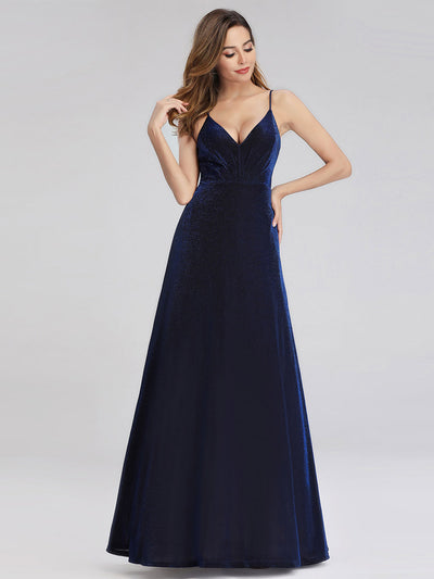 A-Line Spaghetti Straps Velvet Evening Party Dresses for Women