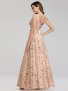 Women'S V-Neck Sleeveless Sequins Evening Maxi Dress-Rose Gold 4