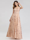 Women'S V-Neck Sleeveless Sequins Evening Maxi Dress-Rose Gold 3
