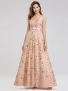 Women'S V-Neck Sleeveless Sequins Evening Maxi Dress-Rose Gold 2