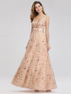 Women'S V-Neck Sleeveless Sequins Evening Maxi Dress-Rose Gold 1
