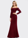 Elegant Off Shoulder Bridesmaid Dress With Lace Sleeves-Burgundy 3