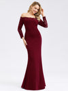 Elegant Off Shoulder Bridesmaid Dress With Lace Sleeves-Burgundy 4