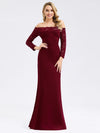 Elegant Off Shoulder Bridesmaid Dress With Lace Sleeves-Burgundy 1