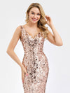 Ever-Pretty Fishtail Rose Gold Sequin Dresses For Women-Rose Gold  10
