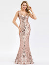 Ever-Pretty Fishtail Rose Gold Sequin Dresses For Women-Rose Gold 6
