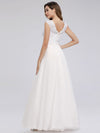 V Neck Floor Length Lace Wedding Dress-White 2